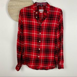 Zara Mens Red black Plaid Button up (light weight) Size Small